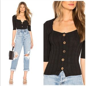 NWT Free People Central Park Top In Black Size L
